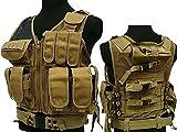 Militar táctica 045Airsoft Molle combate chaleco w/para pistola de paintball marrón
