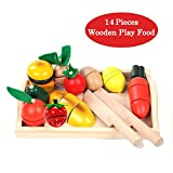 Wooden Cutting Vegetables Food Play Food Set 13 Pcs kitchen Learning Food