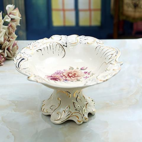 Continental de porcelana marfil Frutero de cer¨¢mica boda decoraci¨®n arte ideas decoraci¨®n para el hogar grande tama?o 35 * 35 *