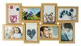 levandeo Holz Bilderrahmen Farbe: Eiche Natur hochwertig verarbeitet für 8 Fotos 10x15cm mit Glasscheiben - Fotogalerie Collage Fotocollage Bildergalerie Fotorahmen