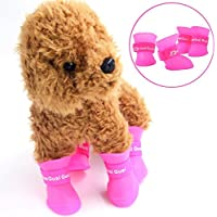f4545cfbf1fec DORSION 4pcs Botas para Perros Impermeable Zapatos de Lluvia para Mascotas ( M(Weight