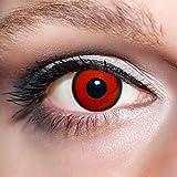 KwikSibs farbige rote Kontaktlinsen Dämonenaugen 1 Paar (= 2 Linsen) weiche Funlinsen inklusive Behälter, K530 (Stärke / Dioptrie: 0 (ohne))