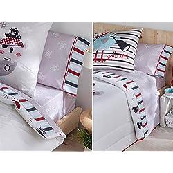 Juego de sábanas con piratas para cama de 90 cm.