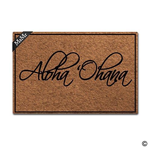 msmr Fußmatte Eingang Fußmatte Aloha Ohana Fußmatte Home- und Office Dekorative Fußmatte 59,9x 39,9cm (Aloha)
