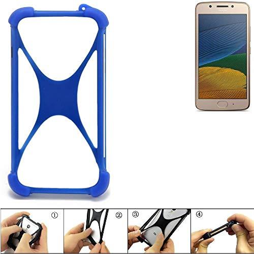 K-S-Trade Handyhülle Lenovo Moto G5 Single-SIM Silikon Schutz Hülle Cover Case Bumper Silikoncase TPU Softcase Schutzhülle Smartphone Stoßschutz, blau (1x)