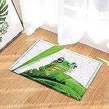 fdswdfg221 Tier Dusche Dekor Frosch auf Tropische Blätter Bad Teppiche Rutschfeste Fußmatte Boden Eingänge Indoor Haustürmatte Kinder Badmatte Bad-Accessoires