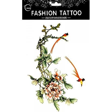 GGSELL GGSELL impermeable y no Tóxico temporal tatuajes diseño grande gorriones con peonía flores temporal tatuajes Mujer para el pecho, Ombligo, Espalda, Piernas,