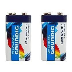 2 Pack 9V Volt Zinc Carbon Batteries Smoke Alarm Block Battery PP3 by Tooltime® - Grundig