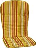 beo Gartenstuhlauflagen Paspelauflage für hohe Stapelstühle, Streifen, circa 96 x 44 x 2,5 cm, gelb/orange / weiß/mehrfarbig