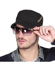 WF:sombrero de las señoras Corea del sombrero masculino de la marea del verano moda al aire libre hermoso hombres y mujeres sombrero del sol del casquillo plano casquillo del casquillo ( Color : Negro )