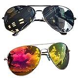 2 Stück Pilotenbrille Verspiegelt Fliegerbrille Sonnenbrille Pornobrille Brille