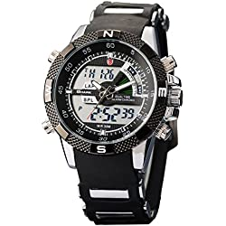 Shark Mens Alarm Chronograph Black Army Military Sport Wrist Watch + Box SH042