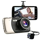 SYIN 1296P FHD 4.0 inch IPS Screen Car Camera Video Front and Rear Dual Lens Car Recorder G-Sensor 400 Million Motion Detection Loop Recorder