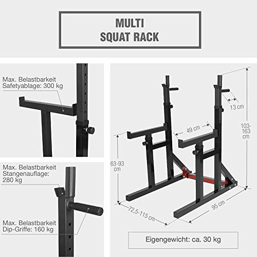 GORILLA SPORTS Multi Squat Rack Knieubeugenständer Schwarz – Ablage für Langhantelstangen, Breite und Länge verstellbar mit Dipgriffen
