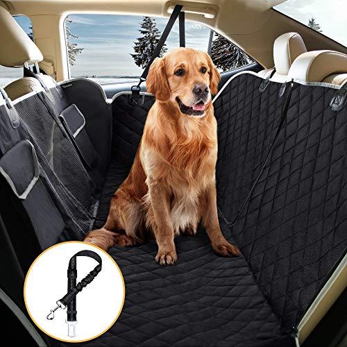 Toozey coprisedile telo auto per cani, divisibile e impermeabile, con rete centrale, protezione laterale, 2 grandi tasche e cintura per cani, antiscivolo per sedile posteriore auto, suv, 147 x 137 cm