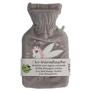 UMOI Öko Einhorn Wärmflasche 1 Liter mit hochwertigem grauem Fleece Bezug eingesticktem Einhorn und Klettverschluss BS1970:2012 zertifiziert