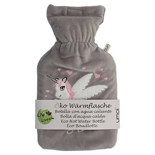 UMOI Öko Einhorn Wärmflasche 1 Liter mit hochwertigem grauem Fleece Bezug eingesticktem Einhorn...