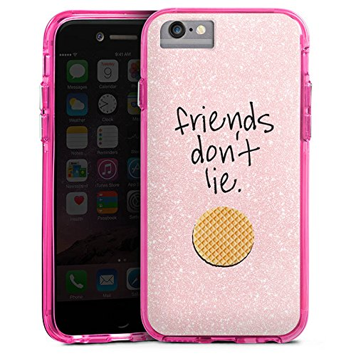 Apple iPhone 6 Plus Bumper Hülle Bumper Case Glitzer Hülle Friends Waffel Serie Bumper Case transparent pink