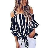 VJGOAL Damen Bluse, Damen Mode Cold Shoulder Striped Spaghetti Strap Hemd Krawatte Knoten Casual Kurzarm Bluse Tops (Dunkelblau, 40)