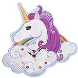 Close Up Einhorn Wanduhr Magic Rainbow, Unicorn Uhr aus MDF 31x30x3 cm, batteriebetrieben