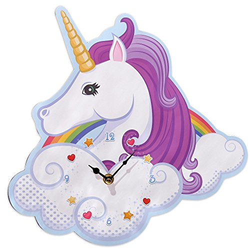 duhr Magic Rainbow, Unicorn Uhr aus MDF 31x30x3 cm, batteriebetrieben ()