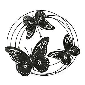 Butterfly Déco Décoration murale cercles avec papillons en métal noir
