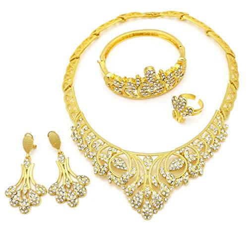 WANZIJING 4 Stücke Hochzeit Schmuck Set, 24 Karat Dubai Gold Schmuck Sets Charme Kristall Blätter Halskette Set für Frauen (Diamant-hochzeit-sets 2 Karat)