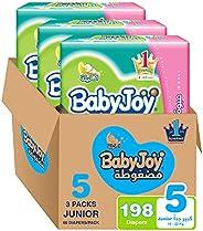 حفاضات ماسية مضغوطة مقاس 5، جونيور، للاطفال بوزن 14-25 كغم من بيبي جوي، عبوة كبيرة جدا، تتضمن 198 قطعة
