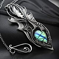 Wire wrapped necklace gift for woman men wire wrap labradorite gothic goth dragon demon wings pendant silver gift necklace