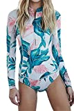 Outgobuy Women's Long Sleeve Printed Rash Guard Swimwear with Boyleg Shorts (M, Green)