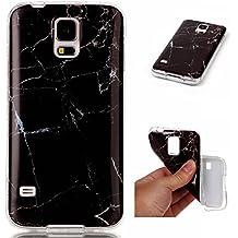 Funda Samsung Galaxy S5 i9600, SpiritSun Carcasa Gel Transparente para Samsung Galaxy S5 i9600 Ultra Fina Flexibilidad Silicona TPU Alta Resistencia Choque Absorción Parachoques con Patrón de Mármol - Negro