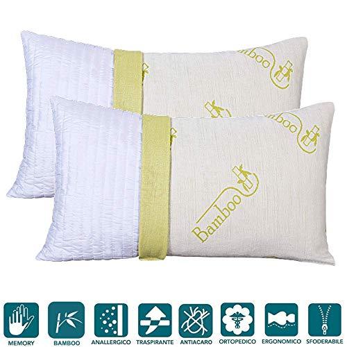 Evergreenweb - coppia cuscini in memory foam e fodera in fibra di bamboo 40x70 alti 12 cm da letto o arredo divano imbottitura 100% fiocco effetto piuma antiacaro 2 guanciali sfoderabili offerta prime