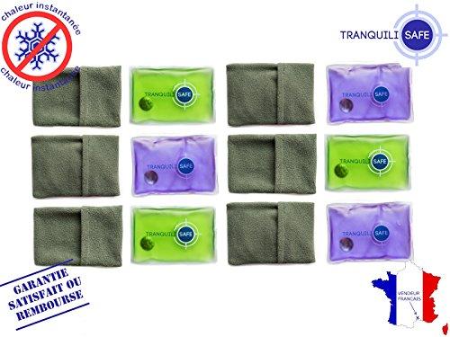 TRANQUILISAFE ® - Taschenwärmer I Handwärmer I Wärmekissen Wiederverwendbar mit Bezug aus Microfaser – Nie mehr kalte Hände im Winter – ideal für Kinder - 6er Set, je 11x8 cm