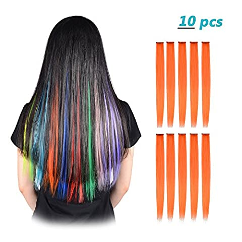 FESHFEN 10 Pcs Orange Straight Clip on in Hair Extensions Hairpieces 20 Inches Long Remy Hair Colored Party Highlights Hair Accessories DIY Hair Decoration Cosplay with Gift Hairpin