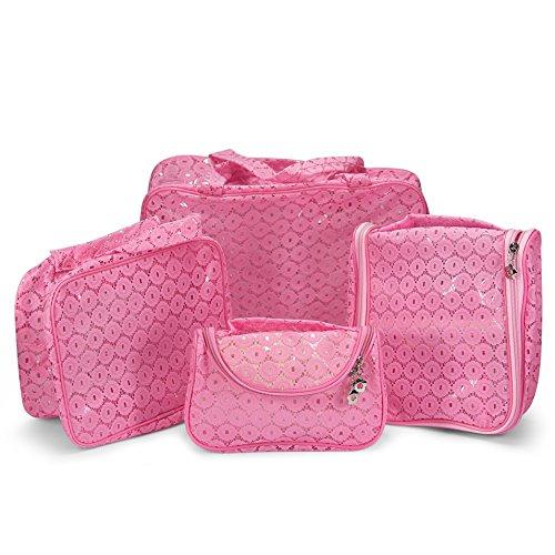 Urcover Kosmetik-Tasche im 4er Set I Damen Kulturtaschen in versch. Größen I Waschbeutel Waschtasche mit Aufhänger in Pink