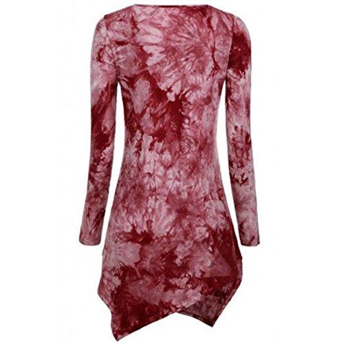 Bluestercool T-Shirt Donna Maniche Lunghe Magliette Floreale Moda rosso