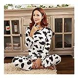 HAOLIEQUAN Mode-Frauen-Pyjamas-Volle Hülsen-Frauen-Pyjamas 2-Teilige Satz-Milch-Kuh-Druck-Nachtwäsche-Lange Hosen-Frauen-Nachtwäsche Mlxl, Nainiudian Frauen, XL