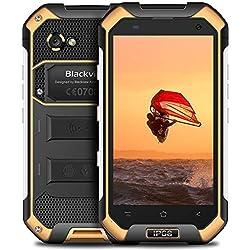 """Blackview BV6000S(2018 FR),Smartphone Débloqué 4G(4.7""""-16Go-Dual Micro SIM-Android 7.0-4500mAh-2.0MP et 8.0MP Dual Caméra-LTE-FDD-NFC-PTT-Smartphone Etanche-Smartphone Antichoc-Antipoussière) Jaune"""