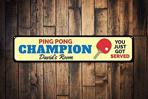 Dozili Ping Pong Champion Schild, personalisierbar, personalisierbar, Aufschrift You Just Got Served, Ping Pong Sport-Dekoration, Hochwertiges Aluminium, 10,2 x 45,7 cm -