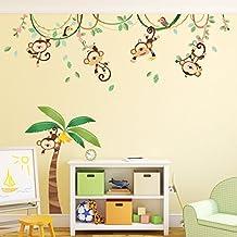 Decowall DA-1507 Monos en una Enredadera Vinilo Pegatinas Decorativas Adhesiva Pared Dormitorio Salón Guardería Habitación Infantiles Niños Bebés