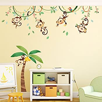 Decowall da 1507 monkeys on vine kids wall stickers wall decals peel and stick removable