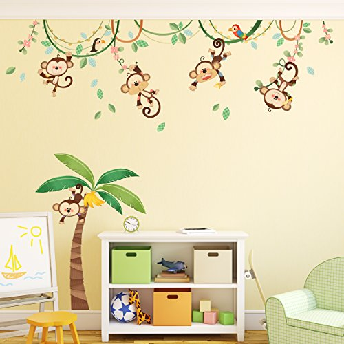 decowall-da-1507-monos-en-una-enredadera-vinilo-pegatinas-decorativas-adhesiva-pared-dormitorio-salo