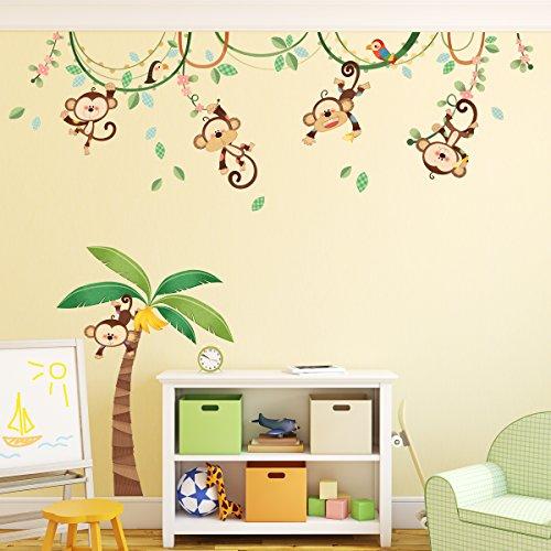 dschungel wandtattoo Decowall DA-1507 Affen Weinrebe Tiere Wandtattoo Wandsticker Wandaufkleber Wanddeko für Wohnzimmer Schlafzimmer Kinderzimmer