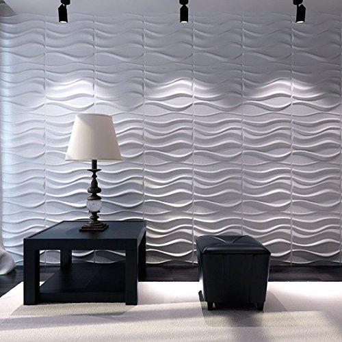 Panel Decorativo 3D LAKE para paredes interiores, 100% ecológico fabricado con bambú, 12 PANELES 50X50 CM = 3M2