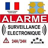 """panneau signalétique de dissuasion """"alarme électronque"""" 300x200mm (pastille double face offert)"""