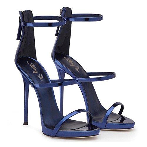 L@YC Sacche aperte Della Pelle Luminosa Degli alti Talloni Delle Donne Con La Pompa Del Vestito Da Ballo Dei Sandali Blue