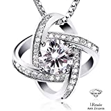 Mothers Day Gift J.Rosée 925 Sterling Silver 3A Cubic Zirconia Symmetric Loops 18'' Pendant Necklace