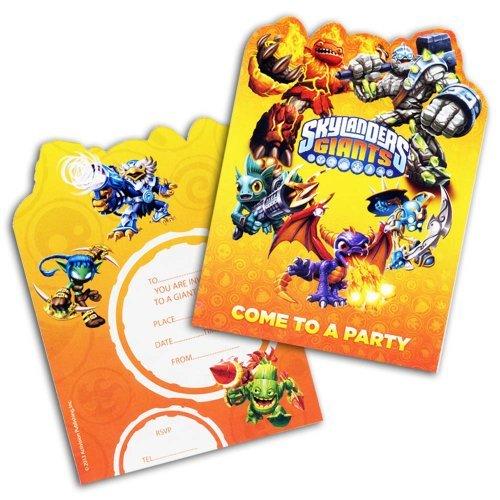6 cartes d'invitation Skylanders Giants avec enveloppes