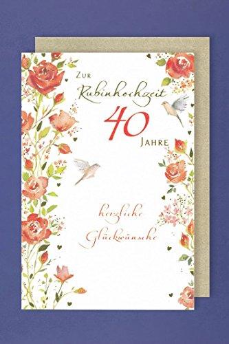 Rubin Hochzeit 40.Hochzeitstag Grußkarte Vögel 16x11cm