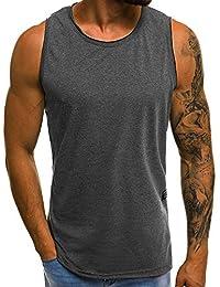 FIRSS Herren Kurzarmshirt   Ärmellos T-Shirt Rundhals Basic Weste Sommer  Freizeit Einfarbig Shirt Slim Fit Tops… 7464ce1100
